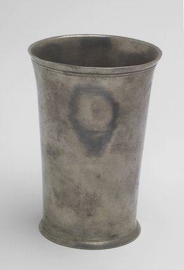 Edward Danforth (American). <em>Beaker</em>, 1788-1794. Pewter, 5 1/8 x 3 5/8 x 3 5/8 in. (13 x 9.2 x 9.2 cm). Brooklyn Museum, Designated Purchase Fund, 45.10.118.2. Creative Commons-BY (Photo: Brooklyn Museum, 45.10.118.2.jpg)