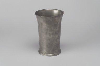 Robert Bonynge. <em>Beaker</em>, 1760-1782. Pewter, 5 1/4 x 3 5/8 x 3 5/8 in. (13.3 x 9.2 x 9.2 cm). Brooklyn Museum, Designated Purchase Fund, 45.10.124. Creative Commons-BY (Photo: Brooklyn Museum, 45.10.124.jpg)