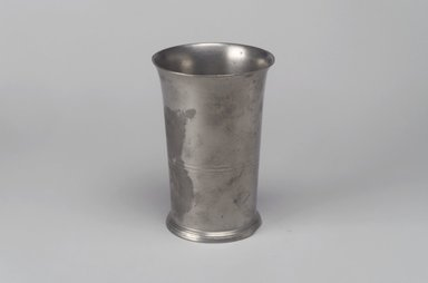 Boardman and Hart (1828-1850). <em>Beaker</em>, 1827-1850. Pewter, 5 1/8 x 3 1/2 x 3 5/8 in. (13 x 8.9 x 9.2 cm). Brooklyn Museum, Designated Purchase Fund, 45.10.135. Creative Commons-BY (Photo: Brooklyn Museum, 45.10.135.jpg)