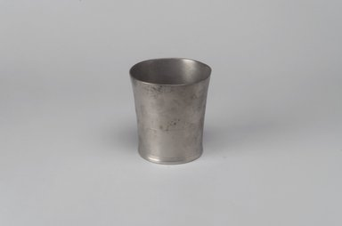 Thomas Danforth Boardman (American, 1784-1873). <em>Beaker</em>, 1822-1825. Pewter, 3 1/8 x 3 x 3 in. (7.9 x 7.6 x 7.6 cm). Brooklyn Museum, Designated Purchase Fund, 45.10.136. Creative Commons-BY (Photo: Brooklyn Museum, 45.10.136.jpg)
