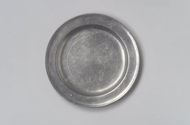 John Will. <em>Plate</em>, 1752-1763. Pewter, 5/8 x 8 3/8 x 8 3/8 in. (1.6 x 21.3 x 21.3 cm). Brooklyn Museum, Designated Purchase Fund, 45.10.145. Creative Commons-BY (Photo: Brooklyn Museum, 45.10.145.jpg)