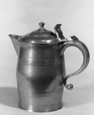 Parks Boyd. <em>Covered Water Pitcher</em>, ca. 1807. Pewter, 8 3/8 in. (21.3 cm). Brooklyn Museum, Designated Purchase Fund, 45.10.186. Creative Commons-BY (Photo: Brooklyn Museum, 45.10.186_acetate_bw.jpg)