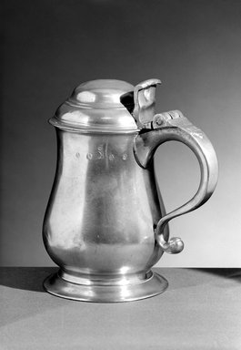 John Andrew Brunstrom. <em>Quart Tankard</em>, 1783-1793. Pewter, 7 7/8 x 7 x 4 5/8 in. (20 x 17.8 x 11.7 cm). Brooklyn Museum, Designated Purchase Fund, 45.10.200. Creative Commons-BY (Photo: Brooklyn Museum, 45.10.200_bw.jpg)