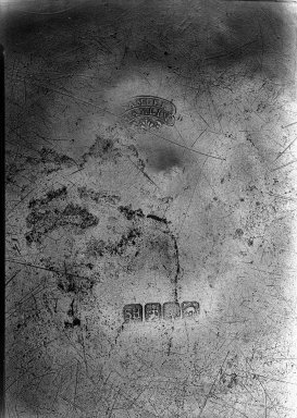 Samuel Hamlin. <em>Dish</em>. Pewter, Diam: 14 3/4 in. (37.5 cm). Brooklyn Museum, Designated Purchase Fund, 45.10.49. Creative Commons-BY (Photo: Brooklyn Museum, 45.10.49_mark_acetate_bw.jpg)