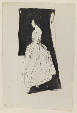 Carl Sprinchorn (American, 1887-1971). <em>Woman in Evening Gown</em>, ca. 1911. Pen and ink wash on wove paper, Sheet: 14 15/16 x 10 1/8 in. (37.9 x 25.7 cm). Brooklyn Museum, Gift of Ettie Stettheimer, 45.118 (Photo: Brooklyn Museum, 45.118_IMLS_PS3.jpg)