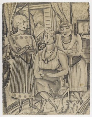Louis (George Louis Robert) Bouché (American, 1896-1969). <em>The Three Sisters</em>, 1918. Graphite on cream, moderately thick, moderately textured laid paper, sheet: 24 3/16 x 18 7/8 in. (61.4 x 47.9 cm). Brooklyn Museum, Gift of Ettie Stettheimer, 45.121 (Photo: Brooklyn Museum, 45.121_IMLS_PS4.jpg)