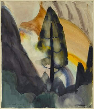 William Zorach (American, born Lithuania, 1887-1966). <em>Tree - Yosemite</em>, 1920. Watercolor over graphite on white, moderately thick, moderately to rough textured wove paper mounted to woodpulp board, Paper: 15 1/4 x 13 1/8 in. (38.7 x 33.3 cm). Brooklyn Museum, Gift of Ettie Stettheimer, 45.123. © artist or artist's estate (Photo: Brooklyn Museum, 45.123_PS2.jpg)