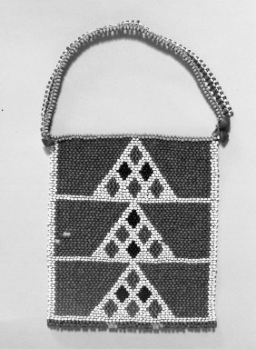 Zulu. <em>Neck Ornament (Ibheqe or Umphapheni)</em>, mid to late 19th century. Glass beads, sinew, 11 1/2 × 7 1/4 × 1/2 in. (29.2 × 18.4 × 1.3 cm). Brooklyn Museum, Gift of Mrs. Herman Eggers, 45.125.10. Creative Commons-BY (Photo: Brooklyn Museum, 45.125.10_acetate_bw.jpg)