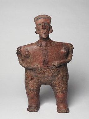 Nayarit. <em>Female Figure</em>, 200 BCE - 200 CE. Ceramic, pigment, 23 5/16 x 14 x 8 11/16 in. (59.2 x 35.6 x 22.1 cm). Brooklyn Museum, Carll H. de Silver Fund, 45.127. Creative Commons-BY (Photo: Brooklyn Museum, 45.127_front_PS9.jpg)