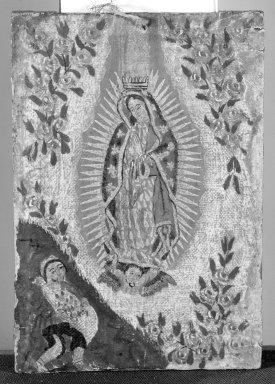 Mexican. <em>Nuestra Senora de Guadelupe (Our Lady of Guadalupe)</em>, 19th century. Oil and gold leaf on canvas, 6 7/8 x 4 3/4 in. (17.5 x 12.1 cm). Brooklyn Museum, Henry L. Batterman Fund, 45.128.11 (Photo: Brooklyn Museum, 45.128.11_bw.jpg)