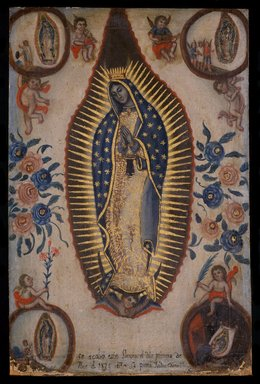 Isidro Escamilla (Mexican, active 19th century). <em>Virgin of Guadalupe</em>, September 1, 1824. Oil on canvas, 22 7/8 x 15in. (58.1 x 38.1cm). Brooklyn Museum, Henry L. Batterman Fund, 45.128.189 (Photo: Brooklyn Museum, 45.128.189_SL3.jpg)