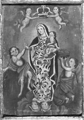 Unknown. <em>Nuestra Señora de la Luz (Our Lady of Light)</em>. Canvas, 43 11/16 x 65 3/8 in. (111 x 166 cm). Brooklyn Museum, Henry L. Batterman Fund, 45.128.192 (Photo: Brooklyn Museum, 45.128.192_framed_bw.jpg)