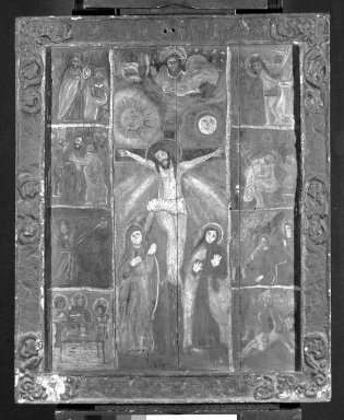 Unknown. <em>Crucifixion with John and Mary</em>, late 19th century. Paint on wood, 37 x 30 1/2 in. (94 x 77.5 cm). Brooklyn Museum, Henry L. Batterman Fund, 45.128.193 (Photo: Brooklyn Museum, 45.128.193_framed_bw.jpg)