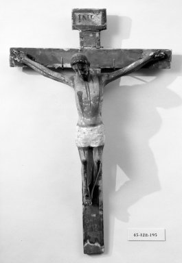 Unknown. <em>Crucifix</em>. Painted wood, cross: 20 3/4 x 13 9/16 in. (52.7 x 34.4 cm). Brooklyn Museum, Henry L. Batterman Fund, 45.128.195. Creative Commons-BY (Photo: Brooklyn Museum, 45.128.195_bw.jpg)