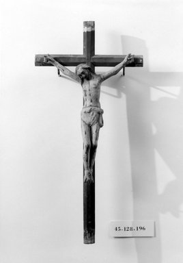 Unknown. <em>Crucifix</em>, late 18th-early 19th century. Wood, gesso, paint, Cross: 14 1/2 x 7 1/8 in. (36.8 x 18.1 cm). Brooklyn Museum, Henry L. Batterman Fund, 45.128.196. Creative Commons-BY (Photo: Brooklyn Museum, 45.128.196_bw.jpg)