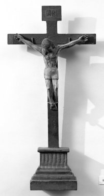 Unknown. <em>Crucifix</em>. Painted wood, cross: 21 1/8 x 10 1/8 in. (53.7 x 25.7 cm). Brooklyn Museum, Henry L. Batterman Fund, 45.128.197. Creative Commons-BY (Photo: Brooklyn Museum, 45.128.197_bw.jpg)