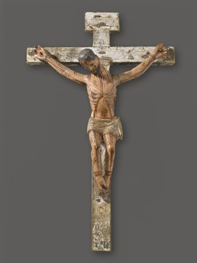 Unknown. <em>Crucifix</em>, 19th century. Painted wood, 25 1/2 x 15 1/2 x 5 1/2 in. (64.8 x 39.4 x 14 cm). Brooklyn Museum, Henry L. Batterman Fund, 45.128.198. Creative Commons-BY (Photo: Brooklyn Museum, 45.128.198_PS6.jpg)