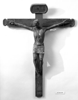 Unknown. <em>Crucifix</em>, mid to late 19th century (probably). Painted wood, cross: 34 x 26 1/2 in. (86.4 x 67.3 cm). Brooklyn Museum, Henry L. Batterman Fund, 45.128.199. Creative Commons-BY (Photo: Brooklyn Museum, 45.128.199_bw.jpg)