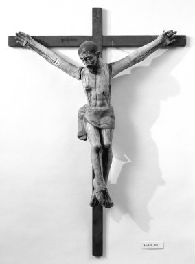 Unknown. <em>Crucifix</em>, 19th century. Painted wood, cross: 35 3/4 x 25 1/2 in. (90.8 x 64.8 cm). Brooklyn Museum, Henry L. Batterman Fund, 45.128.200. Creative Commons-BY (Photo: Brooklyn Museum, 45.128.200_bw.jpg)