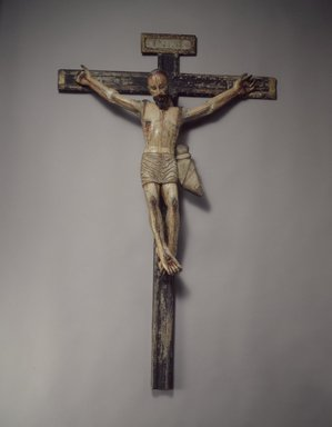 Unknown. <em>Crucifix</em>, late 18th-early 19th century. Wood, gesso, paint, cross: 43 1/2 x 27 7/8. Brooklyn Museum, Henry L. Batterman Fund, 45.128.201. Creative Commons-BY (Photo: Brooklyn Museum, 45.128.201.jpg)