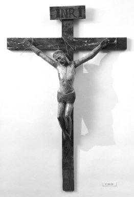 Unknown. <em>Crucifix</em>, second half 19th century. Painted wood, cross: 47 x 30 1/2 in. (119.4 x 77.5 cm). Brooklyn Museum, Henry L. Batterman Fund, 45.128.202. Creative Commons-BY (Photo: Brooklyn Museum, 45.128.202_bw.jpg)
