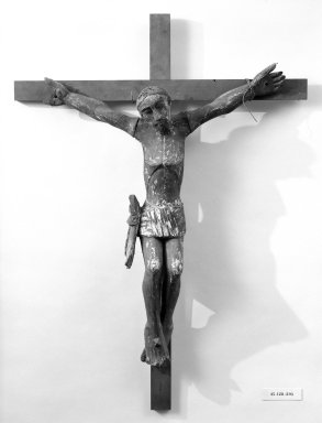 Unknown. <em>Crucifix</em>. Painted wood, cross: 36 5/16 x 26 3/4 in. (92.2 x 67.9 cm). Brooklyn Museum, Henry L. Batterman Fund, 45.128.203. Creative Commons-BY (Photo: Brooklyn Museum, 45.128.203_bw.jpg)