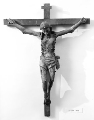 Unknown. <em>Crucifix</em>. Painted wood, cross: 23 1/4 x 17 3/4 in. (59.1 x 45.1 cm). Brooklyn Museum, Henry L. Batterman Fund, 45.128.204. Creative Commons-BY (Photo: Brooklyn Museum, 45.128.204_bw.jpg)