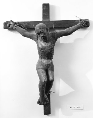 Unknown. <em>Crucifix</em>. Painted wood, cross: 24 1/2 x 18 7/8 in. (62.2 x 47.9 cm). Brooklyn Museum, Henry L. Batterman Fund, 45.128.205. Creative Commons-BY (Photo: Brooklyn Museum, 45.128.205_bw.jpg)