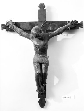 Unknown. <em>Crucifix</em>. Painted wood, cross: 25 1/2 x 19 3/4 in. (64.8 x 50.2 cm). Brooklyn Museum, Henry L. Batterman Fund, 45.128.208. Creative Commons-BY (Photo: Brooklyn Museum, 45.128.208_bw.jpg)