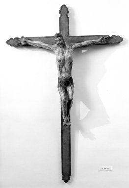 Unknown. <em>Crucifix</em>. Painted wood, cross: 47 7/16 x 30 5/8 in. (120.5 x 77.8 cm). Brooklyn Museum, Henry L. Batterman Fund, 45.128.209. Creative Commons-BY (Photo: Brooklyn Museum, 45.128.209_bw.jpg)