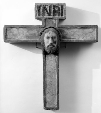 Unknown. <em>Cross with head of Christ at center</em>. Painted stone, 16 x 14 x 2 in. (40.6 x 35.6 x 5.1 cm). Brooklyn Museum, Henry L. Batterman Fund, 45.128.210. Creative Commons-BY (Photo: Brooklyn Museum, 45.128.210_bw.jpg)