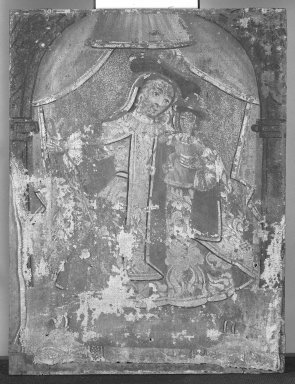 Mexican. <em>Our Lady of Mt. Carmel (Nuestra Senora del Carmen?)</em>. Paint on fabric (as per D. Leibold 8/02), 11 x 8 in. (27.9 x 20.3 cm). Brooklyn Museum, Henry L. Batterman Fund, 45.128.71 (Photo: Brooklyn Museum, 45.128.71_bw.jpg)