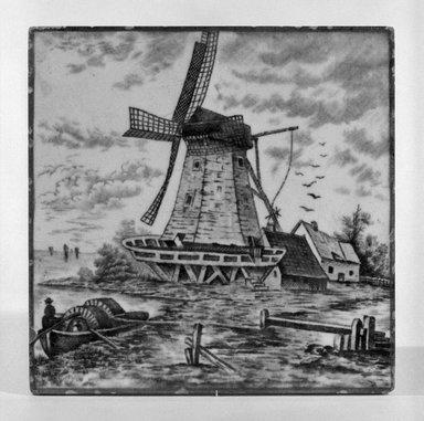 American Encaustic Tile Company Ltd. (1875-1935). <em>Tile</em>, 1885. Glazed earthenware, 6 x 6 in. (15.2 x 15.2 cm). Brooklyn Museum, Gift of Louis C. Garth, 45.139.5 (Photo: Brooklyn Museum, 45.139.5_bw_SL1.jpg)