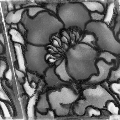American Encaustic Tile Company Ltd. (1875-1935). <em>Tile</em>, 1885. Earthenware, 6 1/16 x 6 1/16 in. (15.4 x 15.4 cm). Brooklyn Museum, Gift of Louis C. Garth, 45.139.6 (Photo: Brooklyn Museum, 45.139.6_acetate_bw.jpg)