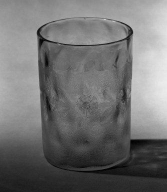 American. <em>Tumbler</em>, 1885. Glass, 3 5/8 x 2 3/8 in. (9.2 x 6 cm). Brooklyn Museum, Dick S. Ramsay Fund, 45.143.18. Creative Commons-BY (Photo: Brooklyn Museum, 45.143.18_acetate_bw.jpg)