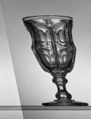 American. <em>Goblet</em>, ca. 1869. Glass, H: 6 in. (15.2 cm). Brooklyn Museum, Dick S. Ramsay Fund, 45.143.46. Creative Commons-BY (Photo: Brooklyn Museum, 45.143.46_acetate_bw.jpg)