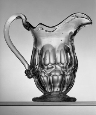 American. <em>Pitcher</em>, ca. 1869. Glass, H: 6 in. (15.2 cm). Brooklyn Museum, Dick S. Ramsay Fund, 45.143.51. Creative Commons-BY (Photo: Brooklyn Museum, 45.143.51_acetate_bw.jpg)