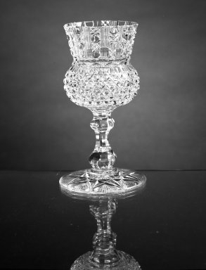 American. <em>Goblet</em>, ca.1870. Glass, H: 6 1/4 in. (15.9 cm). Brooklyn Museum, Dick S. Ramsay Fund, 45.143.6. Creative Commons-BY (Photo: Brooklyn Museum, 45.143.6_view1_acetate_bw.jpg)