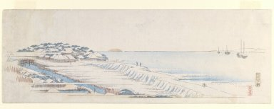 Utagawa Hiroshige (Ando) (Japanese, 1797-1858). <em>Snowy Morning at Susaki from the Letter-Sheet Set</em>, ca.1839-1840. Woodblock color print, 7 x 19 7/8 in. (17.8 x 50.5 cm). Brooklyn Museum, Gift of Louis V. Ledoux, 45.152 (Photo: Brooklyn Museum, 45.152_IMLS_PS3.jpg)