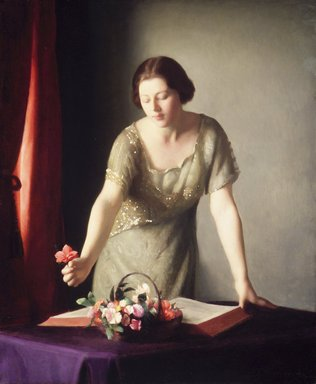 William McGregor Paxton (American, 1869-1941). <em>Girl Arranging Flowers</em>, 1921. Oil on canvas, 30 3/16 x 25 1/16 in. (76.6 x 63.6 cm). Brooklyn Museum, Gift of Mrs. William Paxton, 45.157 (Photo: Brooklyn Museum, 45.157_transp1657.jpg)