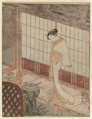 Suzuki Harunobu (Japanese, 1724-1770). <em>Courtesan in Night Attire Standing on a Verandah</em>, ca. 1767. Color woodblock print on paper, Sheet: 10 3/4 x 8 1/4 in. (27.3 x 21.0 cm). Brooklyn Museum, Ella C. Woodward Memorial Fund, 45.158.1 (Photo: Brooklyn Museum, 45.158.1_IMLS_PS3.jpg)