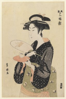 Utagawa Toyokuni I (Japanese, 1769-1825). <em>Okita of Naniwaya, from A Fashionable Triptych</em>, ca. 1793-1794. Color woodblock print on paper, 14 3/4 x 9 5/8 in. (37.5 x 24.4 cm). Brooklyn Museum, Ella C. Woodward Memorial Fund, 45.158.3 (Photo: Brooklyn Museum, 45.158.3_IMLS_PS3.jpg)