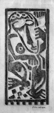 Max Weber (American, born Russia, 1881-1961). <em>Dancing Figure</em>, n.d. Woodcut, 4 3/16 x 1 15/16 in. (10.7 x 5 cm). Brooklyn Museum, By exchange, 45.159.10 (Photo: Brooklyn Museum, 45.159.10_bw.jpg)