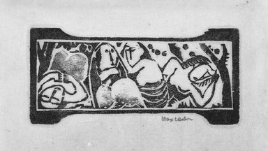 Max Weber (American, born Russia, 1881-1961). <em>Frieze</em>. Woodcut, 1 15/16 x 4 3/16 in. (5 x 10.7 cm). Brooklyn Museum, By exchange, 45.159.2 (Photo: Brooklyn Museum, 45.159.2_bw.jpg)