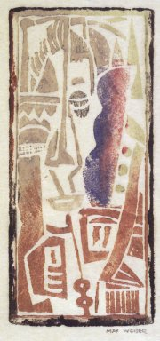 Max Weber (American, born Russia, 1881-1961). <em>Head, Cubist</em>, n.d. Woodcut, 4 3/16 x 1 7/8 in. (10.7 x 4.8 cm). Brooklyn Museum, By exchange, 45.159.3 (Photo: Brooklyn Museum, 45.159.3_transpc003.jpg)