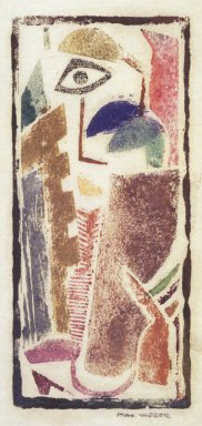 Max Weber (American, born Russia, 1881-1961). <em>Figure</em>, n.d. Woodcut, 4 3/16 x 1 7/8 in. (10.7 x 4.8 cm). Brooklyn Museum, By exchange, 45.159.4 (Photo: Brooklyn Museum, 45.159.4_transpc001.jpg)