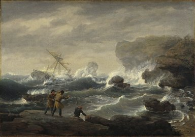 Thomas Birch (American, 1779-1851). <em>Shipwreck</em>, 1829. Oil on canvas, frame: 37 1/2 x 49 1/4 x 4 1/4 in. (95.3 x 125.1 x 10.8 cm). Brooklyn Museum, Dick S. Ramsay Fund, 45.166 (Photo: Brooklyn Museum, 45.166_SL1.jpg)