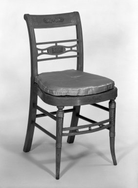 <em>Side Chair</em>, early 19th century. Lacquer, gold leaf and bronze, 33 5/8 x 18 1/8 x 16 3/4 in. (85.4 x 46 x 42.5 cm). Brooklyn Museum, Gift of Charles Montgomery, 45.173.2. Creative Commons-BY (Photo: Brooklyn Museum, 45.173.2_bw.jpg)