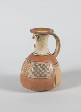 Inca. <em>Face-Neck Jar</em>, 1450-1532 C.E. Ceramic, pigment, 6 3/4 x 5 x 4 1/2 in. (17.1 x 12.7 x 11.4 cm). Brooklyn Museum, Gift of Leo E. Fleischman, 45.175.4. Creative Commons-BY (Photo: Brooklyn Museum, 45.175.4_PS5.jpg)