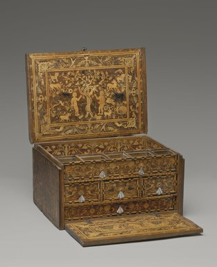 <em>Traveling Desk (Escritorio)</em>, early 18th century. Cedar or walnut, citrus and other wood inlays, and iron, 9 1/4 x 16 3/8 x 12 in. (23.5 x 41.6 x 30.5 cm). Brooklyn Museum, Gift of Leo E. Fleischman, 45.175.5. Creative Commons-BY (Photo: Brooklyn Museum, 45.175.5_PS4.jpg)